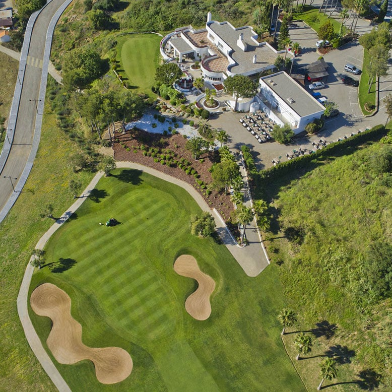 Estepona Golf Club House and 18th Green, Aerial Photograph, Helicopter View,
