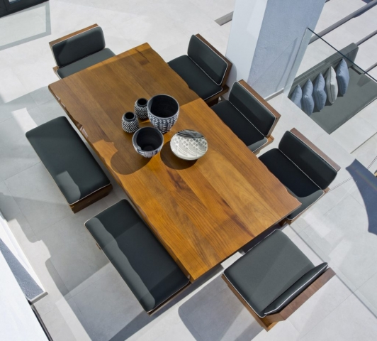 Terrace Style, Table and Chairs, Modern exterior living, Nezha Kanouni, Marmorin, Wooden Table,