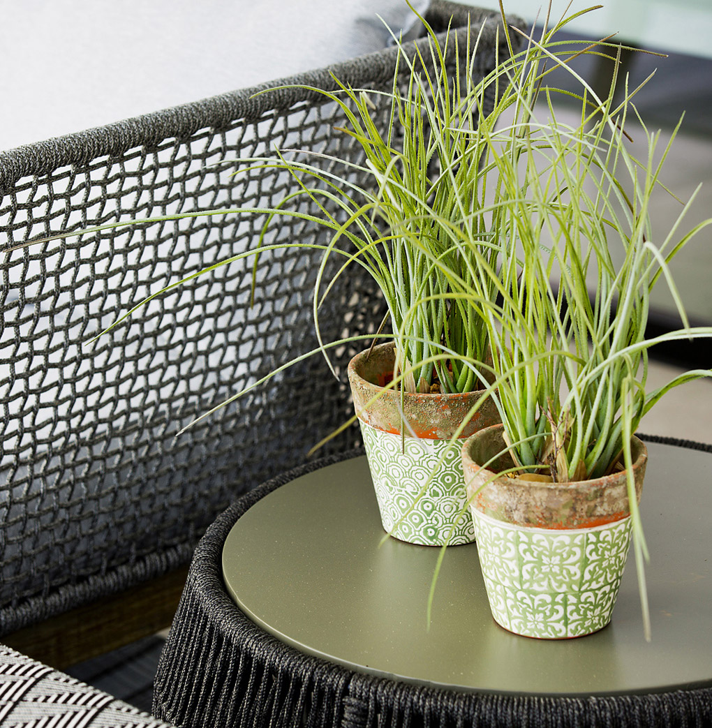 Interior Design, Detail of Accessories and Designer Side Table, Interiors, Terrace furniture, green pots, Flower pots with green print,