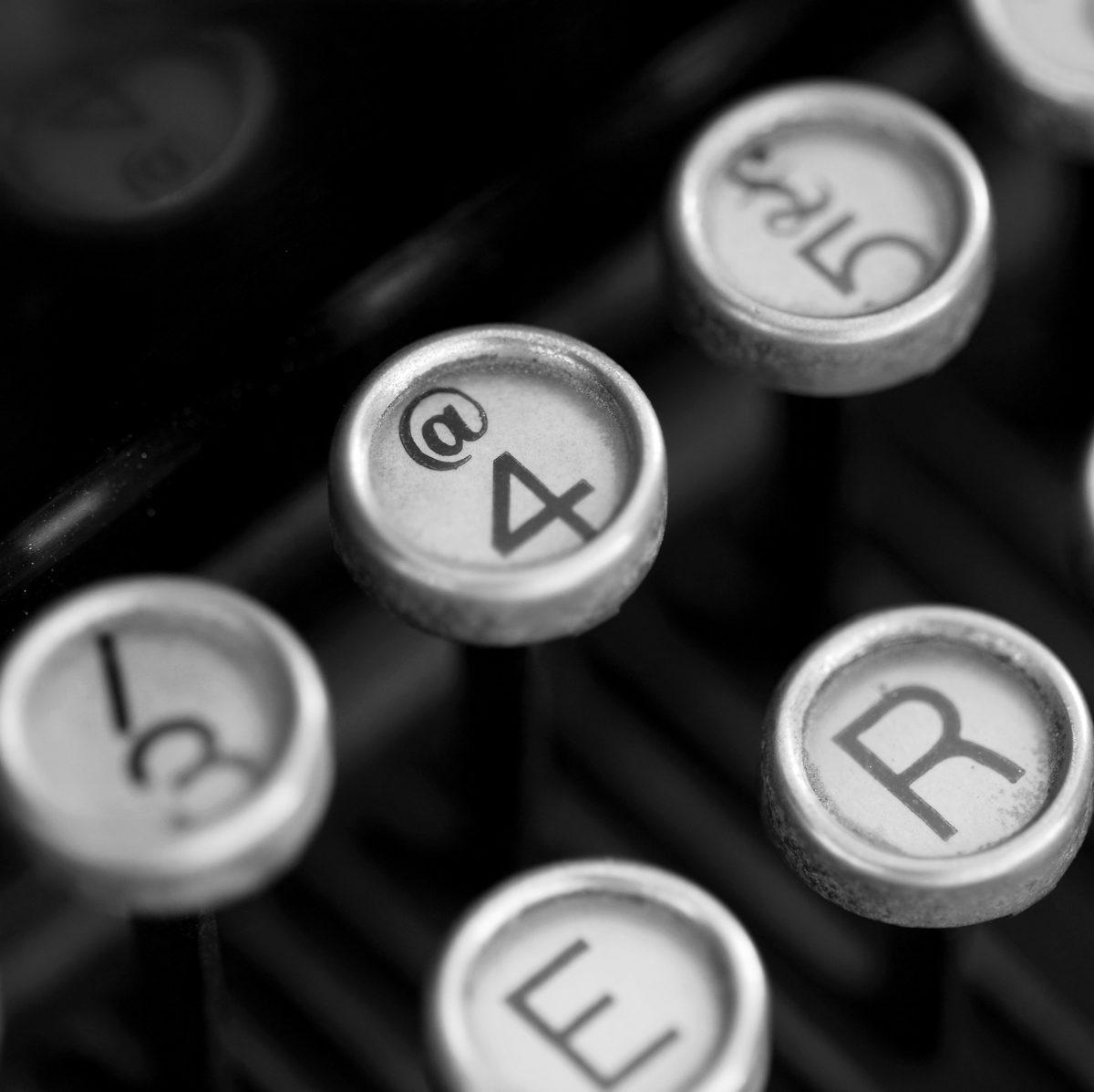 The 'at sign' key, original 1947 Royal Typewriter, typewriter, Royal Typewriter, keyboard, key 4
