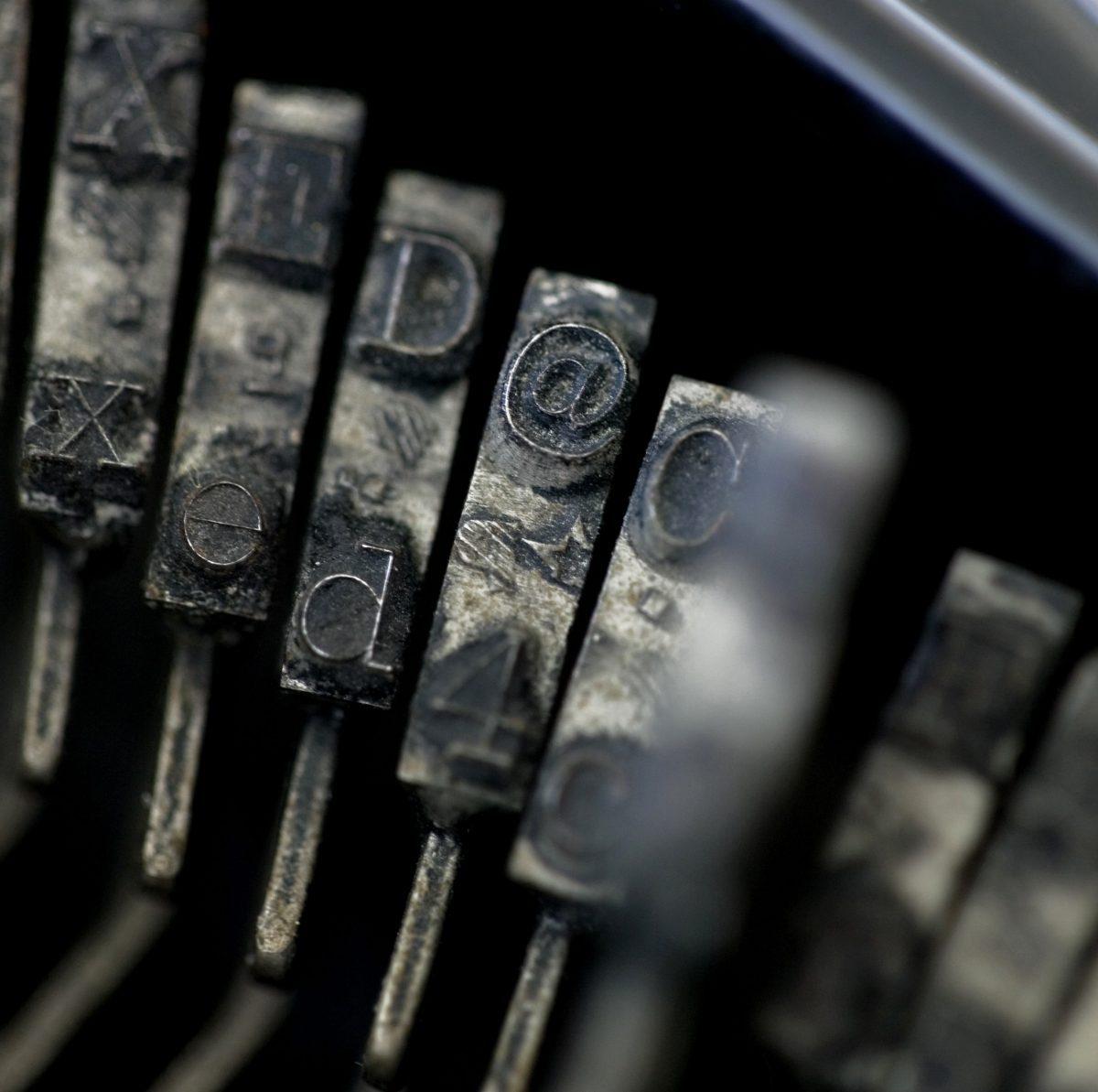 """The """"At sign"""", original 1947 Royal Typewriter, typewriter, keyboard, key 4"""