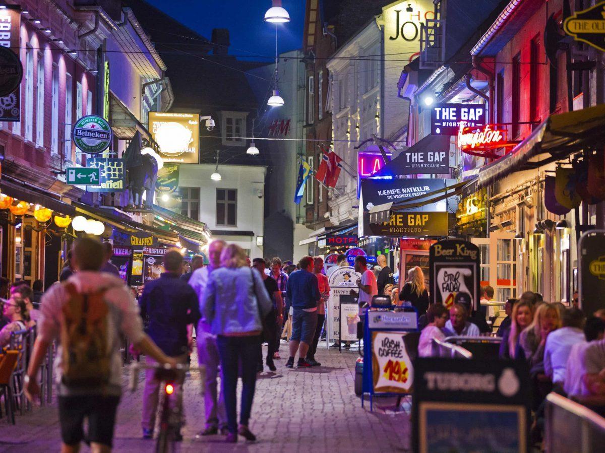 Aalborg, Jomfru Ane Gade/ Virgin Anne Street, DENMARK, nightlife in Aalborg, Danish girls, Aalborg University, The Gap Nightclub, Leary Aalborg, The Old Irish Pub Aalborg,