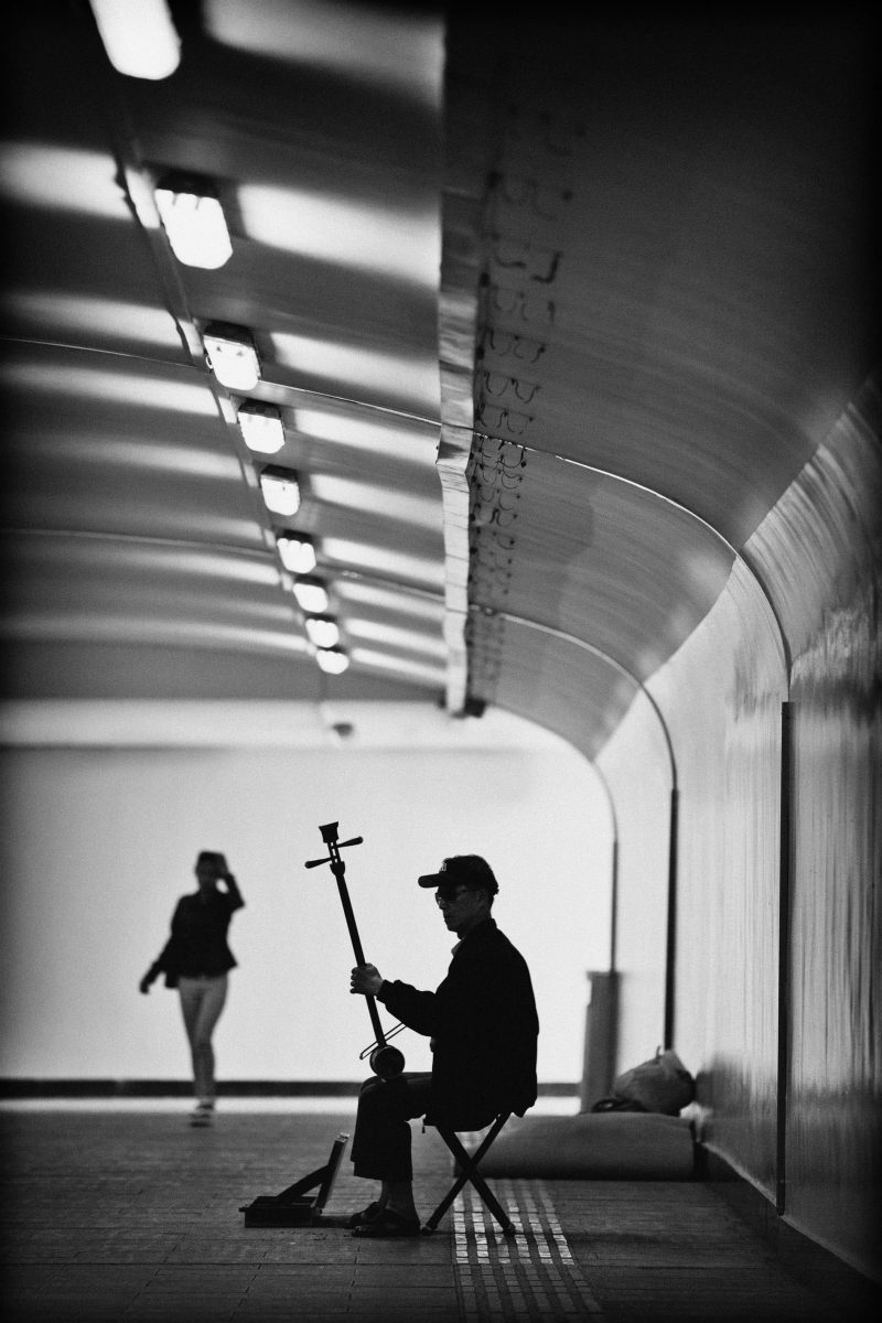 Beijing, Busker with Erhu, Chinese Violin, CHINA, Beijing subway, Chinese Busker, black and white in Beijing, China capital city