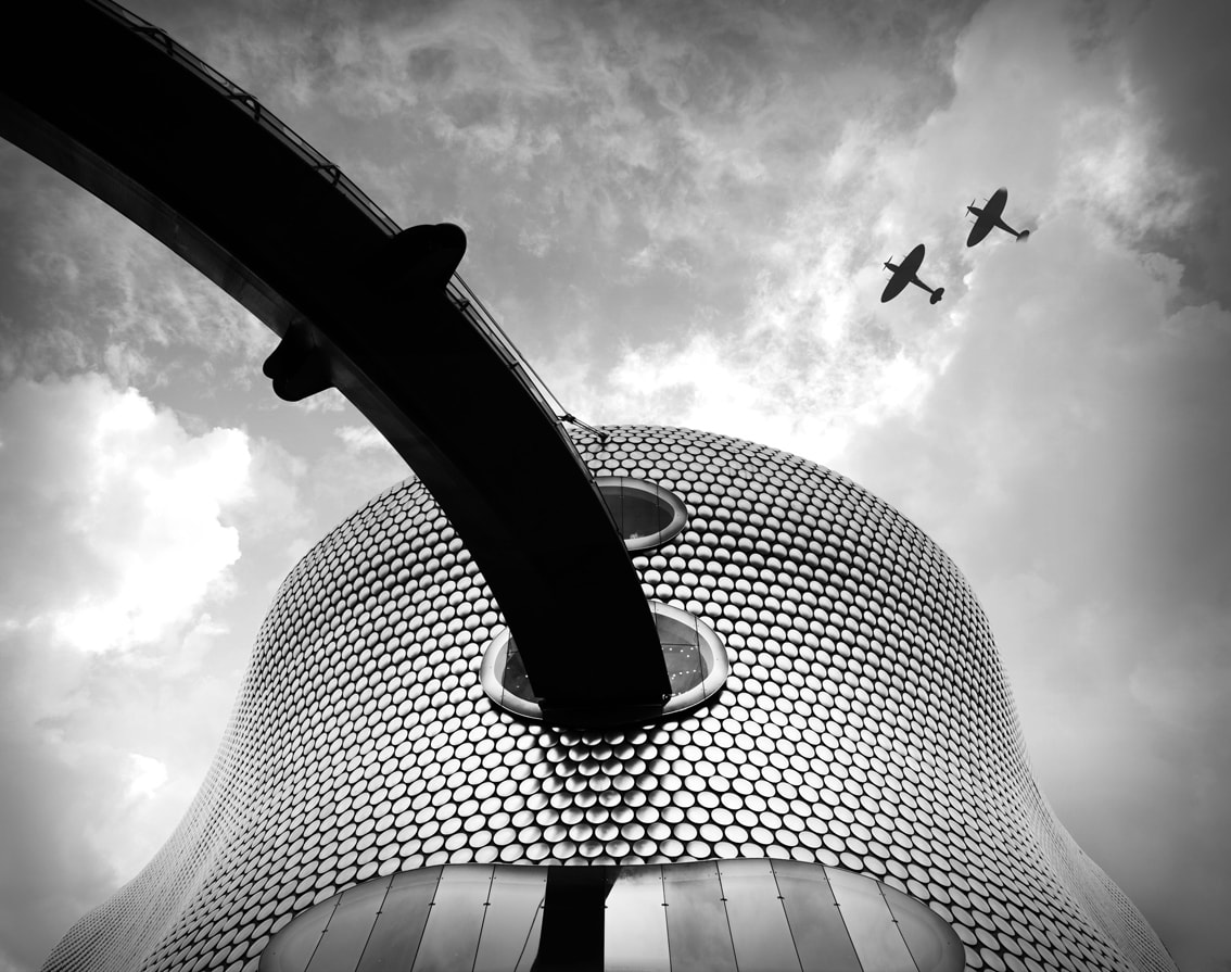 Selfridges at the Birmingham Bullring, Spitfires overhead, Black and white Birmingham, Spitfire Planes, The Bullring Birmingham, Modern Architecture
