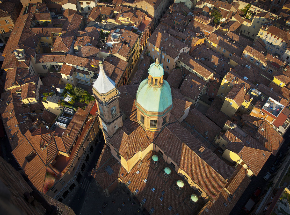 Bologna from above, Italy, city view, Bologna Church, Bologna Old town, Terracotta roof tops