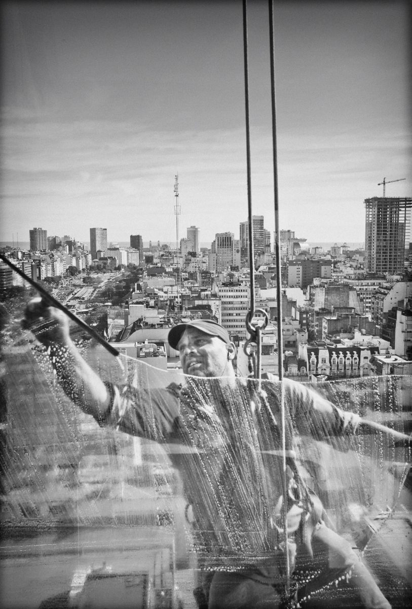 Buenos Aires, window cleaner, black and white, Travel Buenos Aires, Hotel Panamericano, high life, cleaning up, Window, travel photography, Gary Edwards, Marbella