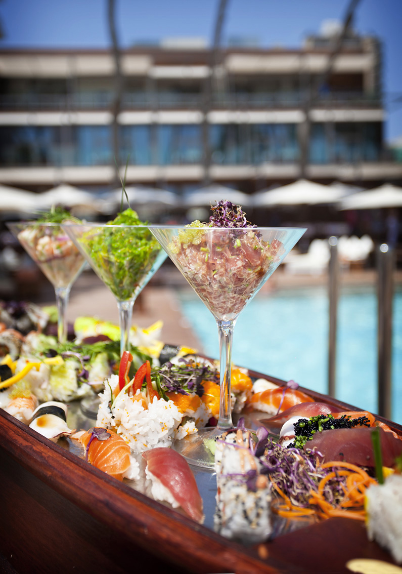 Sushi and Sashimi, Signature Sushi Boat,  Nikki Beach Mallorca, Magaluf