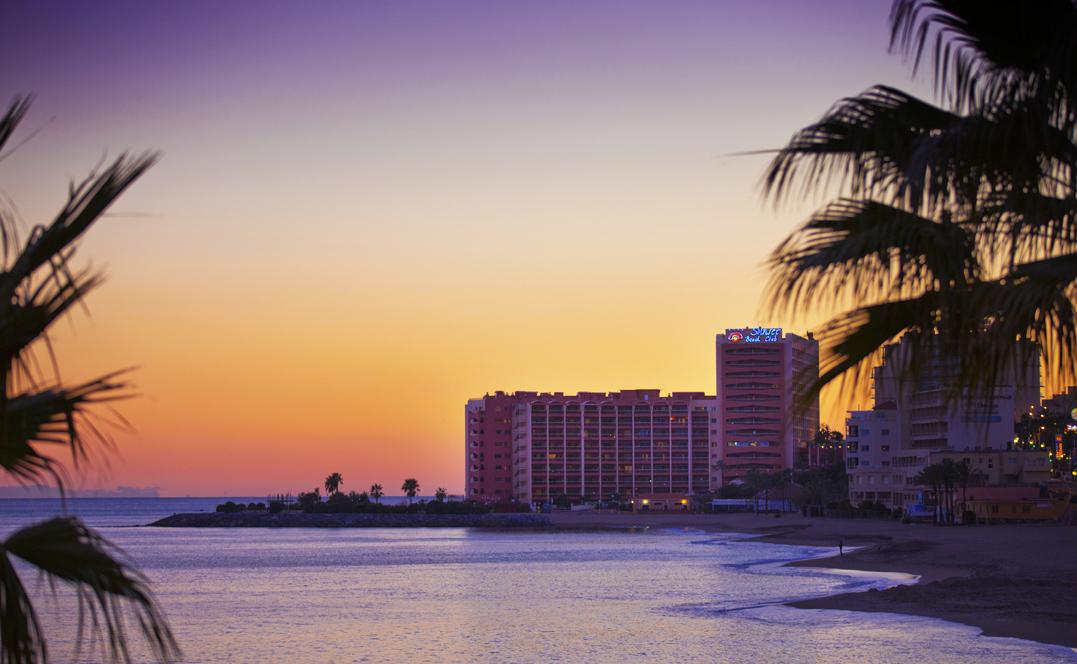 Sunset with palms across the water, Sunset Beach Club Benalmadina, Mark Wardell, Best hotel in Benalmadina