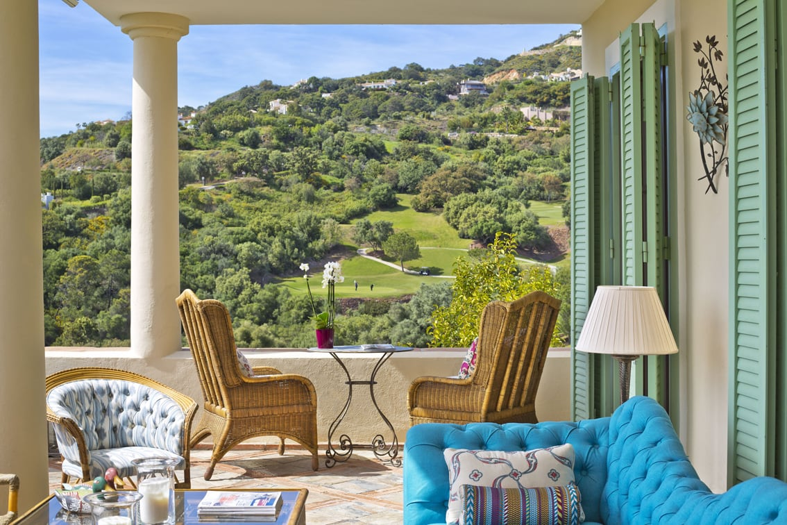 Terrace with a view, Marbella Club Golf Resort, view over the green, property in Marbella