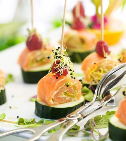 Salmon Canapés, Nikki Beach menu, Marbella, Summer Food