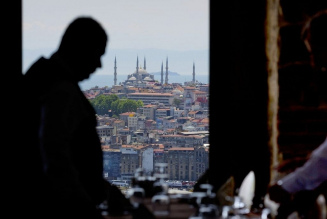 Istanbul, Blue Mosque from Galata Tower Restaurant, TURKEY, restaurant at Galata Tower, restaurants in Turkey, Blue Mosque