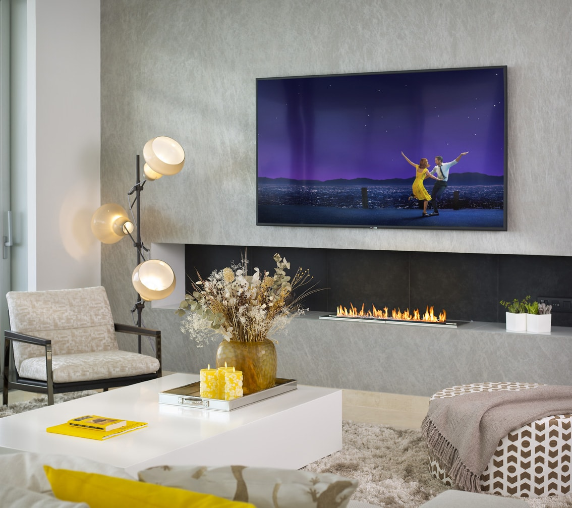 High definition TV, La La land, Gary Edwards Photography, Modern Fire place, Alta Vista, yellow props, professional lighting, Ambience Interiors Marbella,