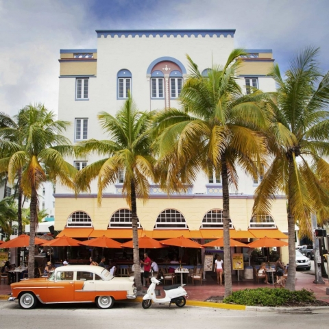 Miami, Ocean Drive, USA, Orange 50's Car, Palms in Miami, Classic Miami, America,