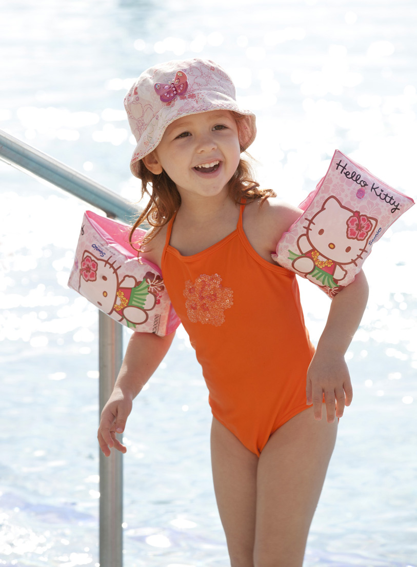 Holiday Fun, Petchey Leisure Portugal, Hello Kitty Arm bands, Safety at the pool, Summer hat