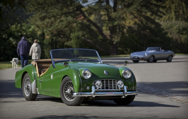 Green 1959 TRIUMPH TR3 with E Type JAGUAR