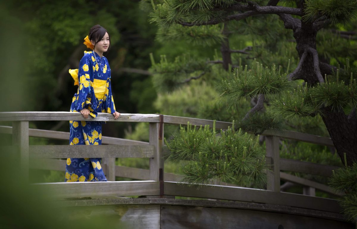 Tokyo, Yoyogi Park, JAPAN, typical Japanese girl, Girl on bridge,  pretty Japanese girl,