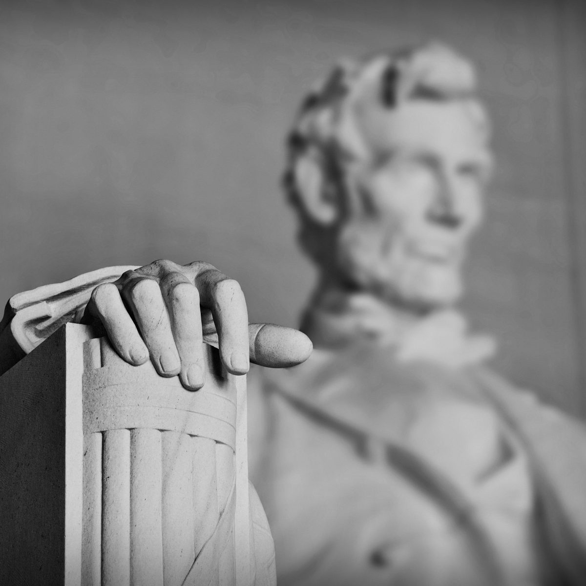 Washington DC, Lincoln Memorial, USA, Lincoln's Hand, Statue of Lincoln, Washington Statues, Black and white, best image of Lincoln Memorial
