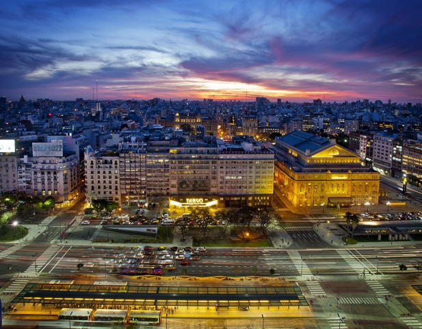 Travel, Argentina, Buenos Aires, Avenida 9 de julio, night time, sunset Buenos Aires, biggest street in the world
