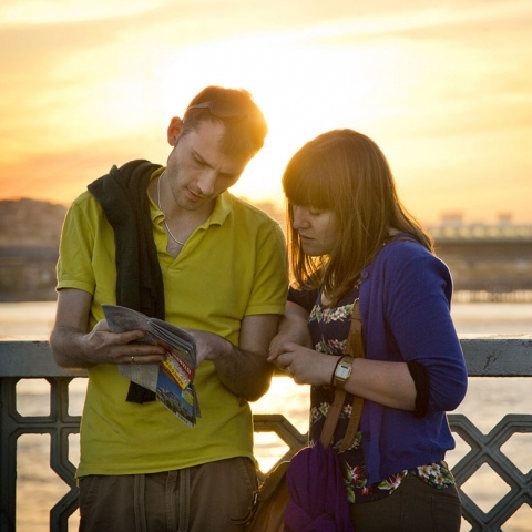 Istanbul, Galata Bridge, TURKEY, young couple, map reading, sunset, where are we, Galata, Bosphorus River, Istanbul Map