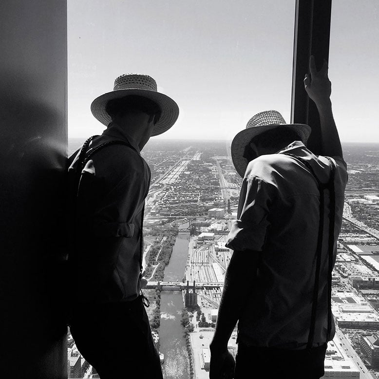 Chicago, Willis Tower, USA, Amish People, Amish Community, view of Chicago.