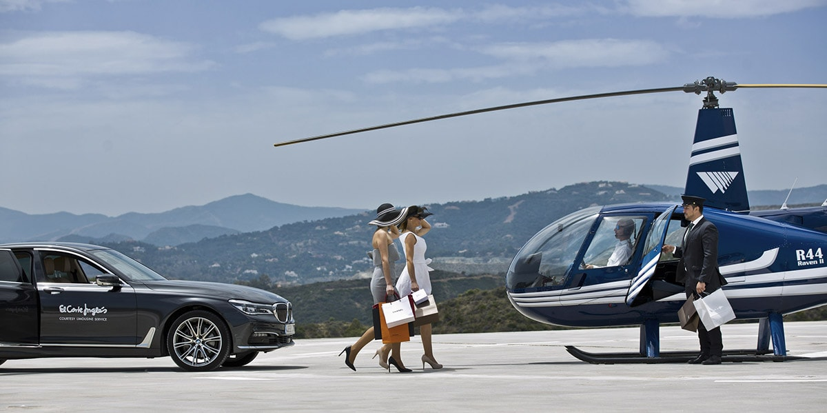 El Corte Ingles, Marbella Heliport, Helicopter, Marbella, Designer shopping, helipad marbella, Gary Edwards, BMW, VIP service