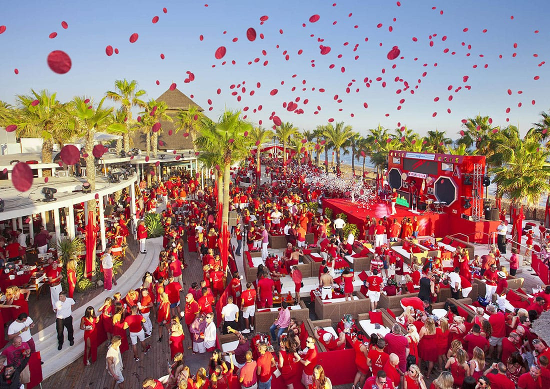 Aerial Photography, Nikki Beach Red Party, Confetti, Beach party Marbella, Event Photography, Best price for quality, Sunday on the beach, Aerial Photos Marbella, Don Carlos Hotel Marbella