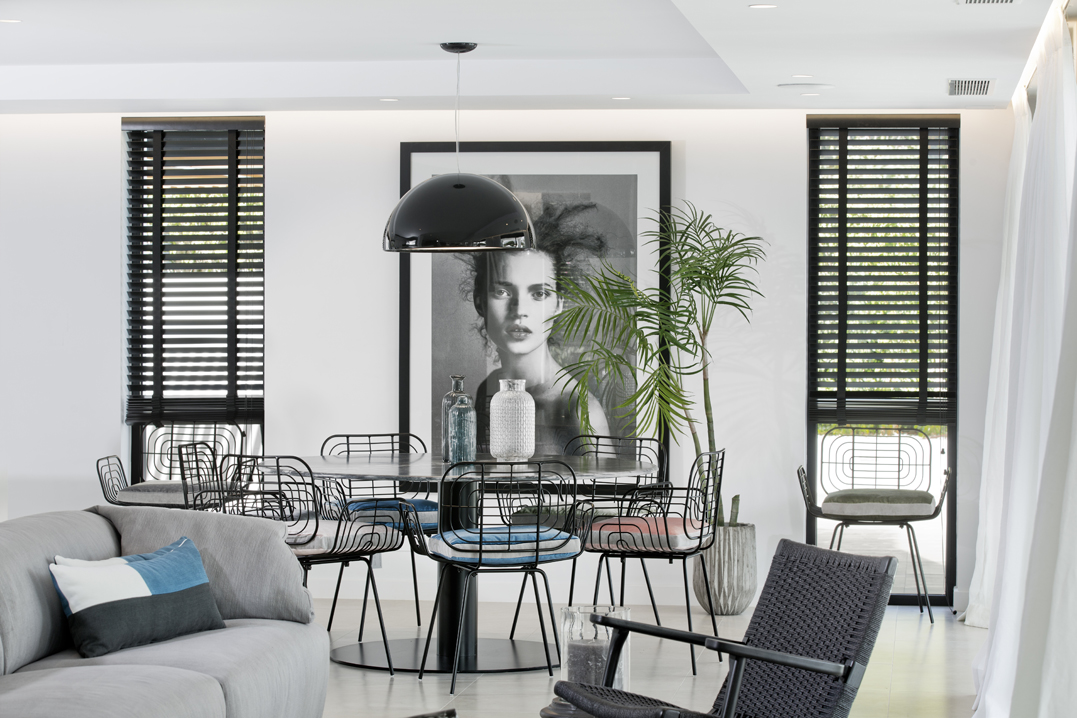 Interior Design, Detail of Accessories, Interior Photography, Designer Sofa, Kate Moss Photo Print, Aloha Golf, Black blinds
