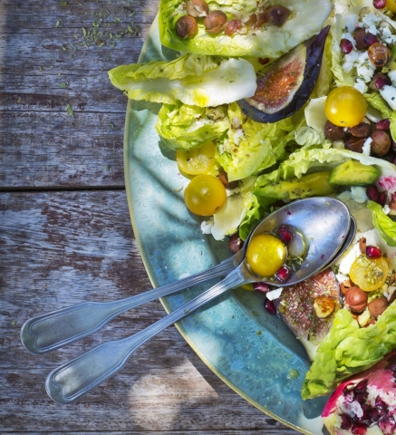 Fig, Parmesan and Green Cherry Tomatoes, Pomegranate, Avocado, Lettuce Salad, Chef Dani Tucker, The Social Kitchen, Rustic, Dappled sunlight photo