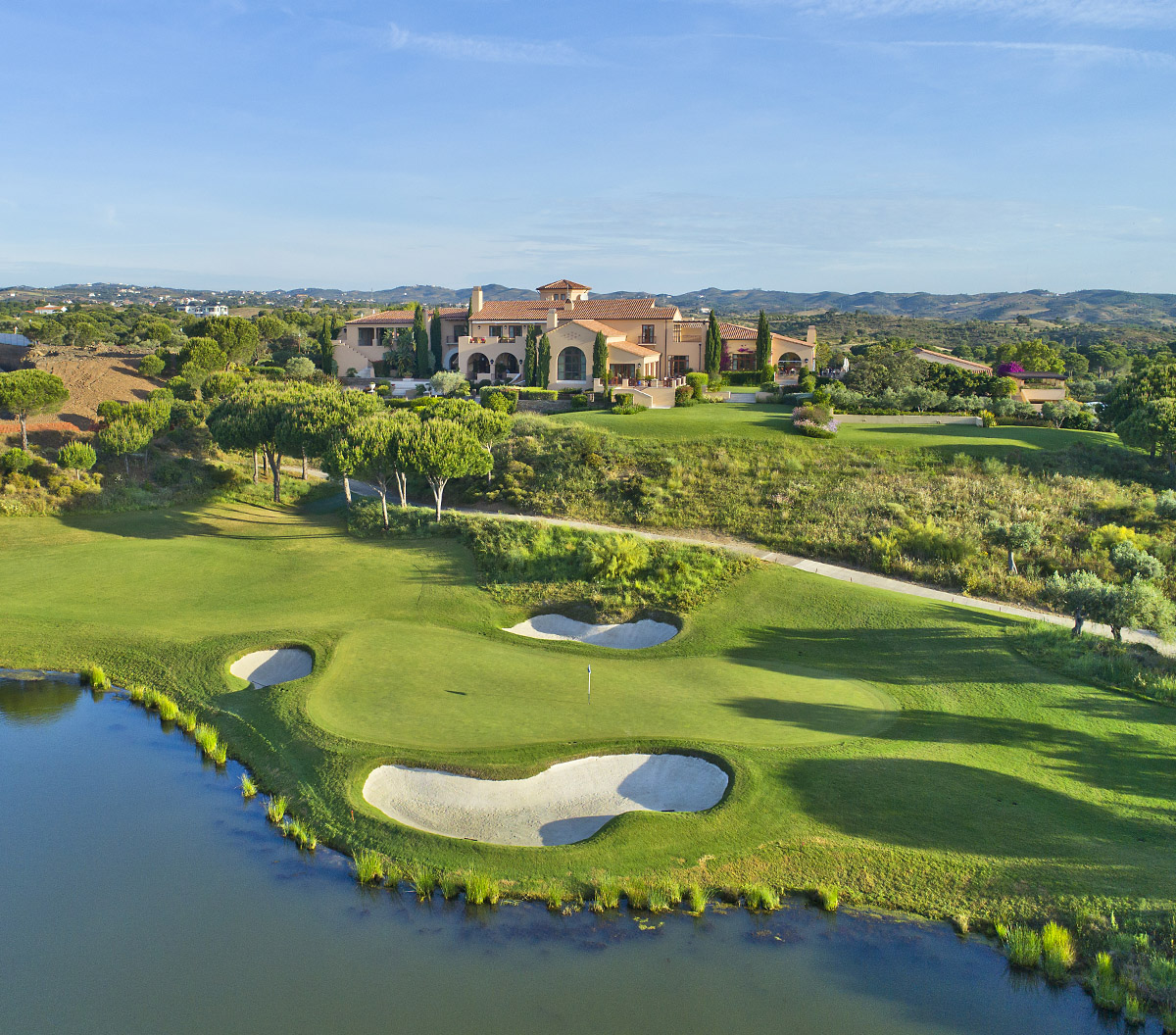 Drone Photograph, Monte Rei Golf Clubhouse, Aerial images of Golf, 18th Green