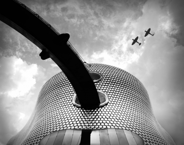 Selfridges at the Birmingham Bullring, Spitfires overhead, Black and white Birmingham, Spitfire Planes, The Bullring Birmingham, Modern Architecture