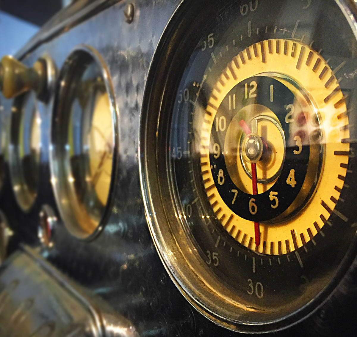 Classic Car Dash Instruments, Malaga Car Museum, Malaga, Photography