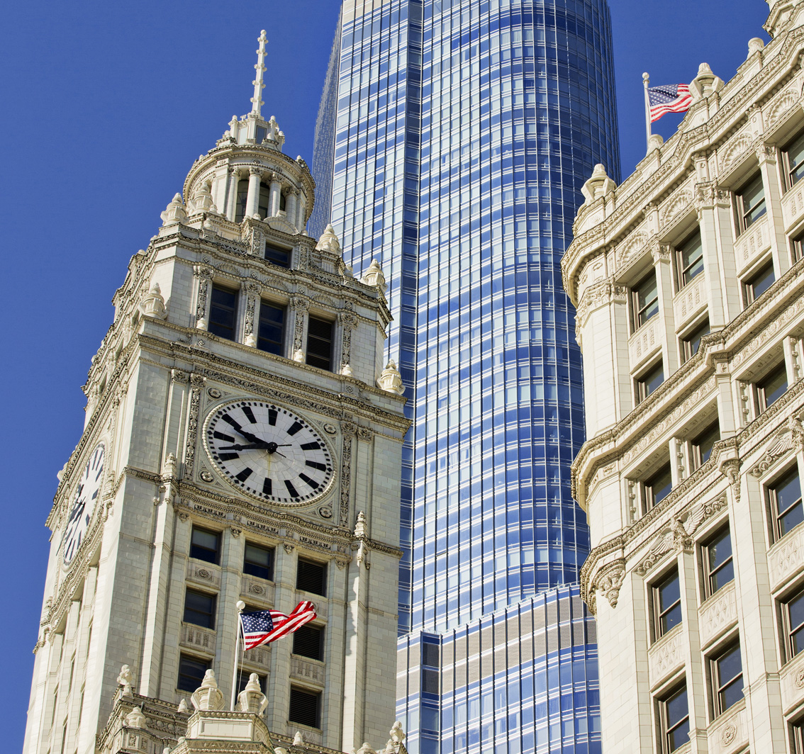 City Architecture, Chicago, Skyscrapers, Old and New Chicago, Chicago Clock, Stars and stripes, Gary Edwards Travel Photographs, 9,40am