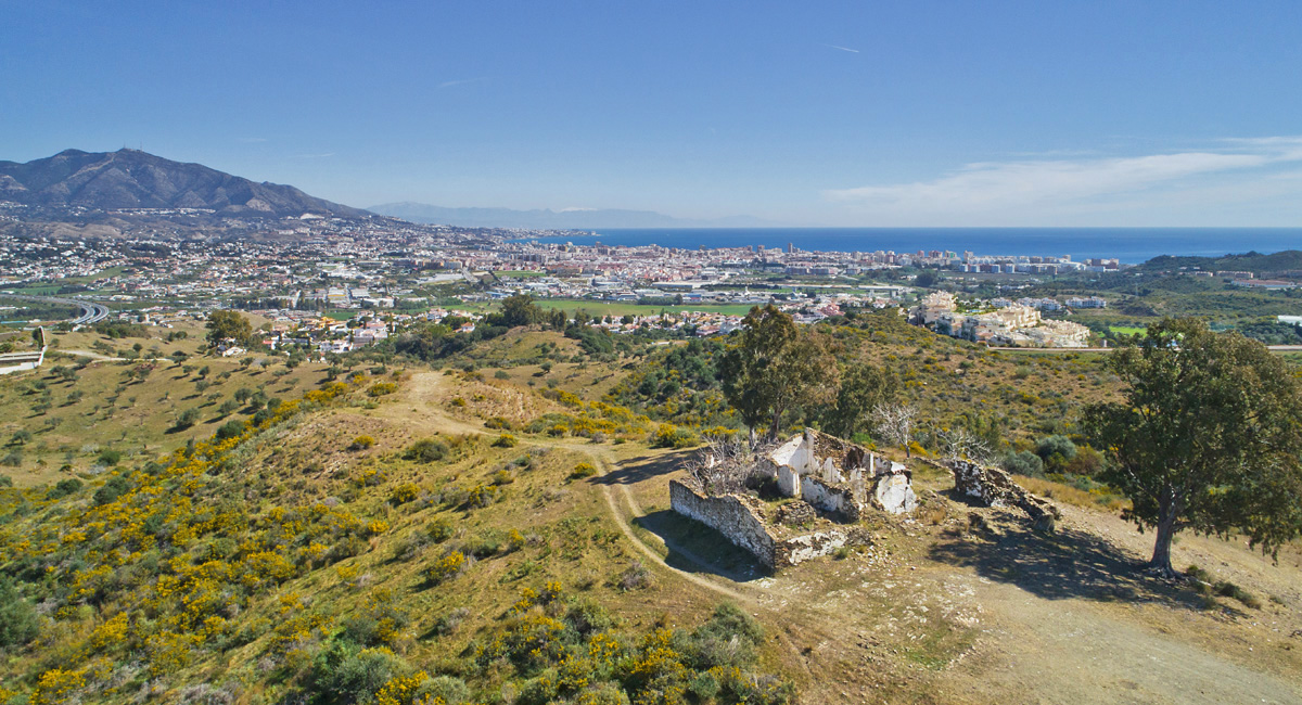 Ruin in La Cala looking towards Fuengirola, Spain, Grupo C, Cerrado de Aguila, Drone photography Costa del Sol, Bike trails Andalucia, Spain