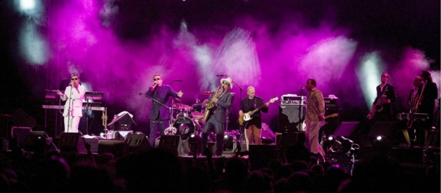 Madness in concert Marbella, Our House, Baggy Trousers, On Step Beyond, Marbella Concerts, Marbella live Gigs, Suggs on stage