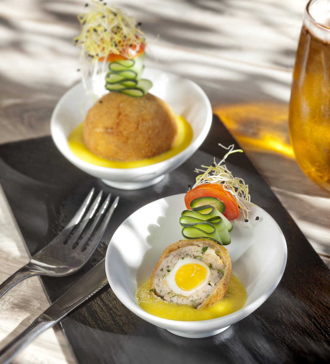Tapas, scotch egg, funky tapas, food in marbella, restaurants in Marbella, Verveza, Caña de cerveza