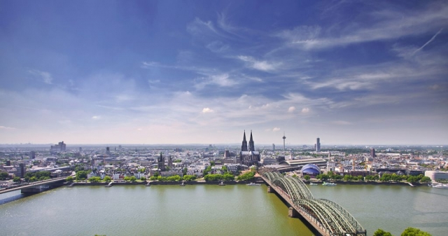 High view of Cologne, travel images, Aerial view of Cologne, Germany, Koln, Koln Cathedral, Cologne Towers