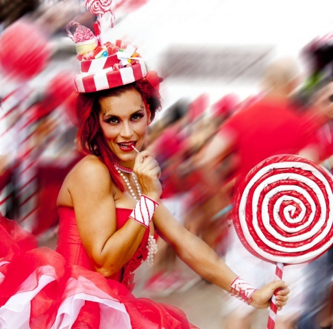 Marbella Nikki Beach Candy Girl Red and White