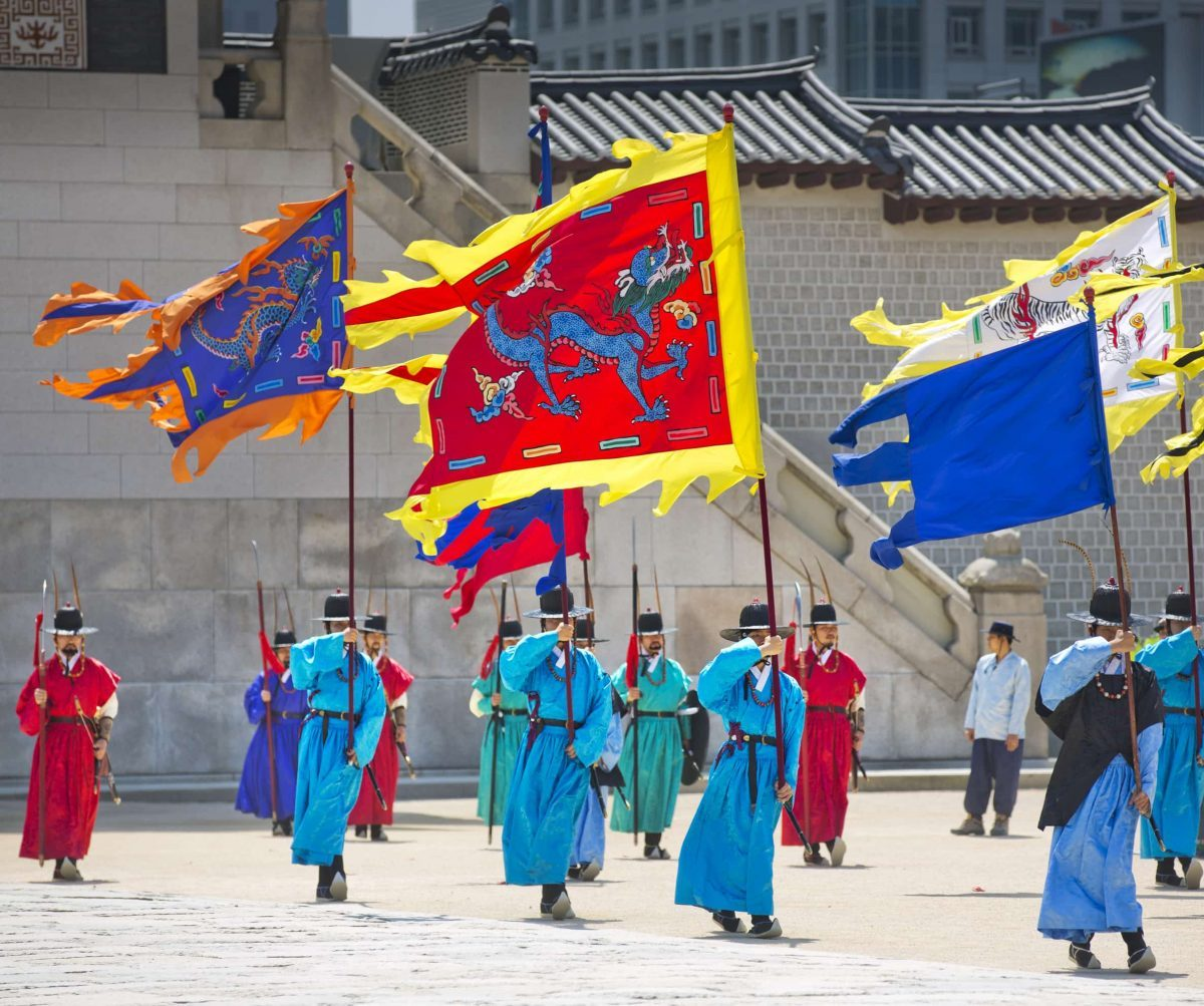 Seoul, Changing of the Guard,  Dragon, Dragon flag, Travel Seoul, Wiryeseong,  Gyeonggi Province,  Gyeongbokgung Palace, Republic of Korea, Han River, SOUTH KOREA, culture of South Korea, traditions in Korea