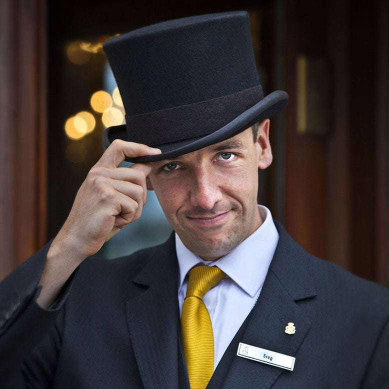 Doorman, Hotel Dublin, Greg, Top hat, Greg the Doorman, Shelbourne Hotel Dublin, Hotel Photography