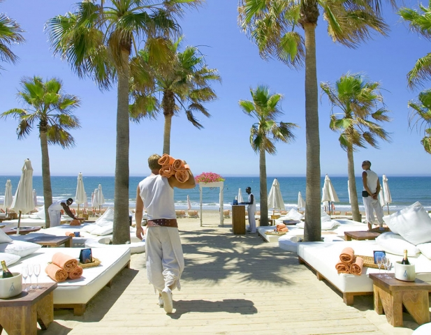 Beach Club, Nikki Beach Marbella, Hotel Don Carlos, Beach Club Photography, Image of Marbella, Rolled Towels, GQ Magazine, Best Beaches in Marbella, Hotel Photography Marbella