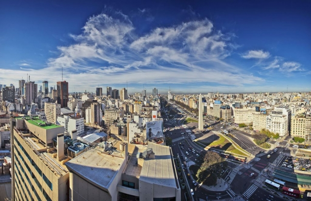Buenos Aires, View from the Panamericano Hotel, ARGENTINA, Agenda 9 de julio, Avenue 9th July, Evita Building, Panamericano Buenos Aires, Gary Edwards Travel