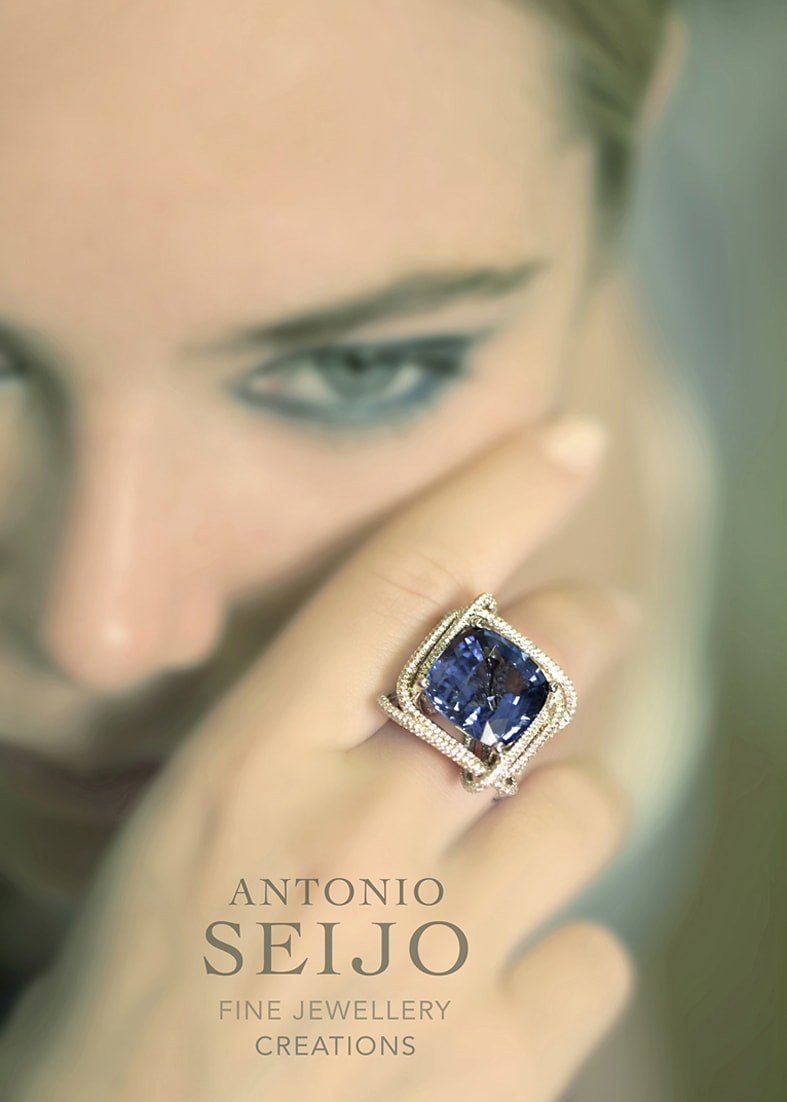 Antonio Seijo Advert, James Bond Overtone with Sapphire and diamond ring.