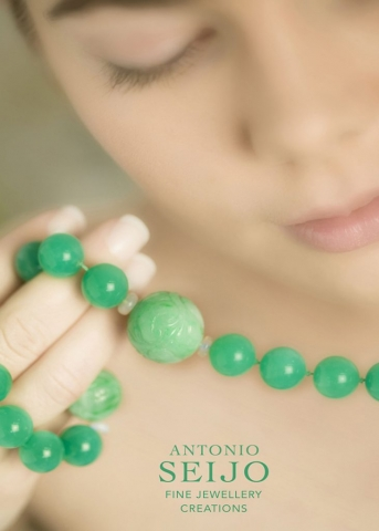 Kira with Jade carved Necklace by ASeijo, Antonio Seijo Jewellery